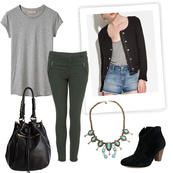 This kind of look is a no-brainer for your day to day. Opt for a pair of skinnies in a fresh hue, then top them off with a 'laxed tee and a tweedy jacket. Accessories like a great pair of Western-style ankle booties and a statement necklace give this basic style a seasonal lift.  Topshop Stretch Skinny Trousers ($76), Organic by John Patrick / Jersey Crewneck T-Shirt ($70), Dannijo Abacos Necklace ($436), Zara Structured Blazer ($90), Linea Maya Bucket ($470), Steve Madden Pita Booties ($99)