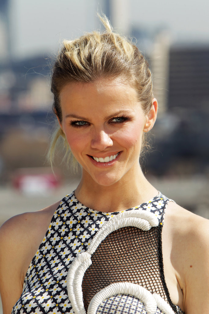 Brooklyn Decker smiled in a cut-out dress at a photo call for Battleship in London.