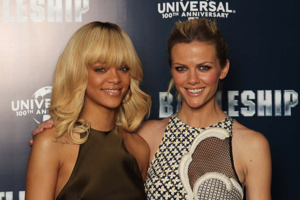 Rihanna and Brooklyn Decker stuck together at a photocall for Battleship in London.