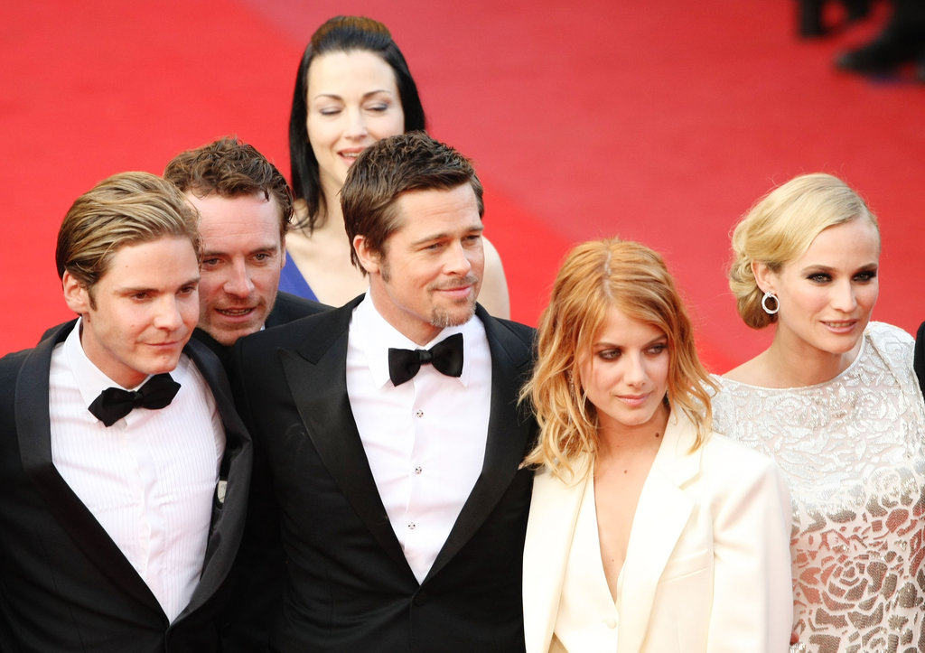 Michael Fassbender popped up in the middle of an Inglourious Basterds picture during May, 2009's Cannes with costars Daniel Bruehl, Brad Pitt, Melanie Laurent, and Diane Kruger.