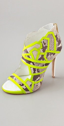 ONE by Suecomma Bonnie High Heel Embosed Bootie with Neon Piping