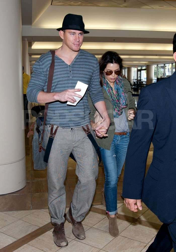 Channing Tatum and Jenna Dewan held hands as they arrived at the airport in Los Angeles.