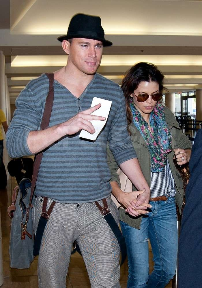Channing Tatum and Jenna Dewan made their way through the airport in Los Angeles hand in hand.