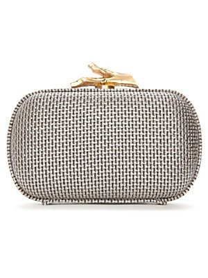 Diane Von Furstenberg Silver Canvas Box Clutch