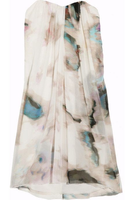 We love the abstract print, the ultra-flattering silhouette, and the fact that this look would be appropriate for almost any wedding with the right accessories.  Alice + Olivia Printed Silk-Chiffon Dress ($495)