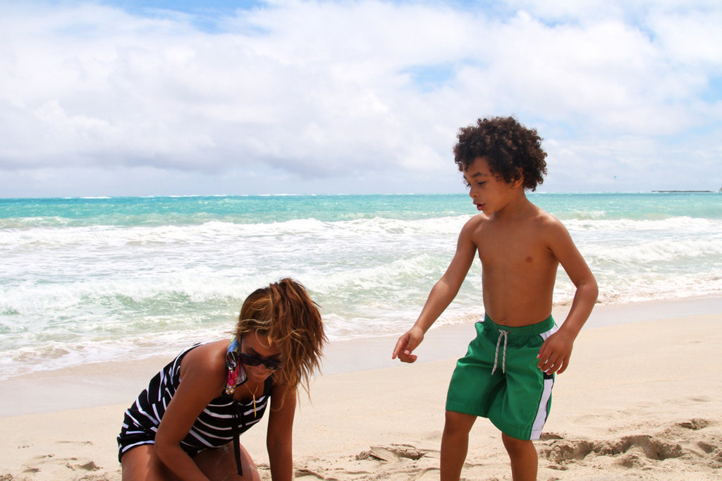 Beyonce Knowles hung out on the beach with her nephew Julez.