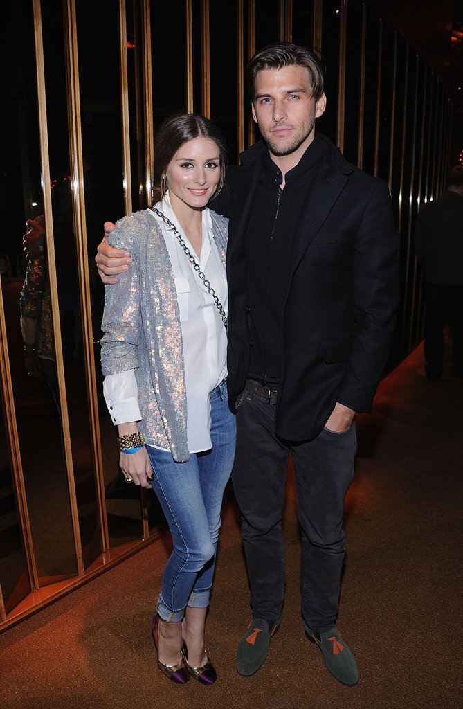 Olivia Palermo wore a shiny blazer and denim to HBO's Girls premiere afterparty with Johannes Huebl in NYC.