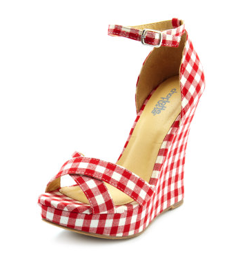 How sweet is this gingham print? We'd add these to a breezy LWD or a pair of ankle-cuffed denim and a blazer.  Cross-Front Gingham Fabric Wedge ($33)