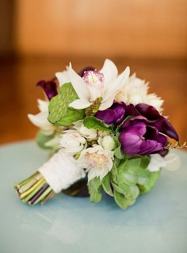 Purple and Green Flowers From Bride to Flower Girl to Ring Bearer