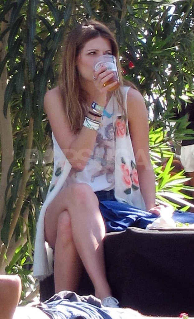 Mischa Barton sipped on a cold drink in the VIP section Saturday.