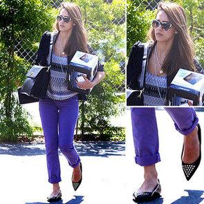 Jessica Alba Purple Jeans