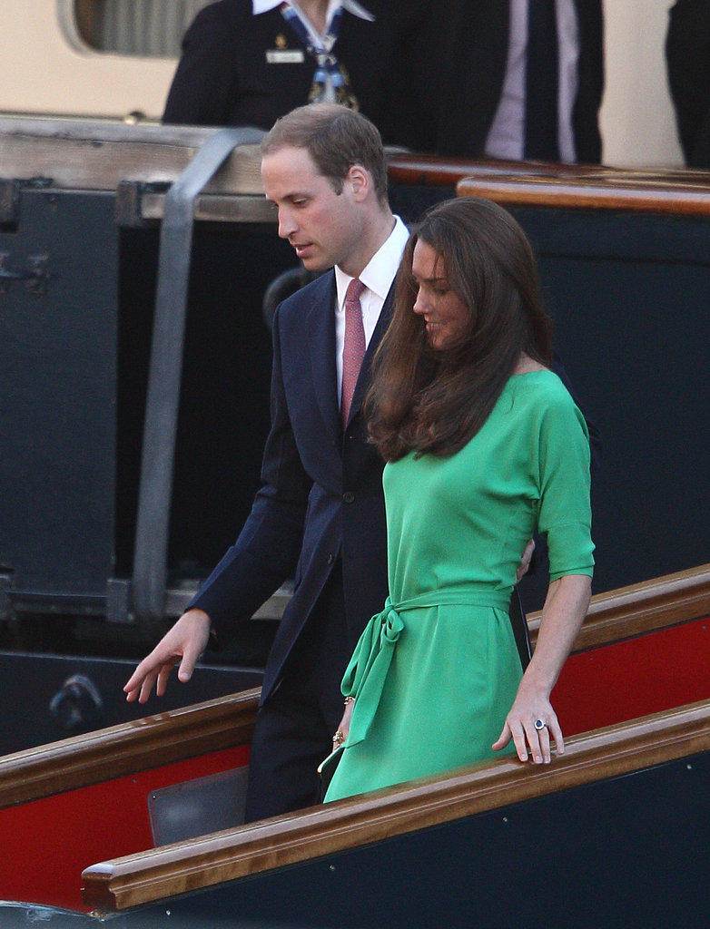 Prince William and Kate Middleton attended cocktails ahead of Zara Phillips and Mike Tindall's July 2011 wedding on the Royal Yacht Britannia in Edinburgh.