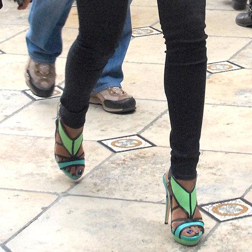 Gabrielle Union Green Platform Sandals