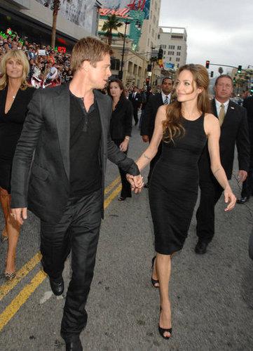 Brad Pitt and Angelina Jolie held hands at the June 2007 LA premiere of Ocean's Thirteen.