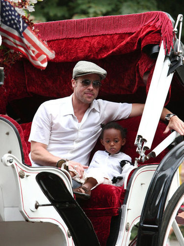 Brad Pitt took a ride around NYC with Zahara in August 2007.