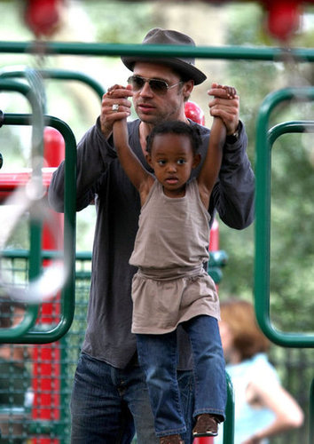 Brad Pitt played with Zahara on the monkey bars at a park in New York City in August 2007.