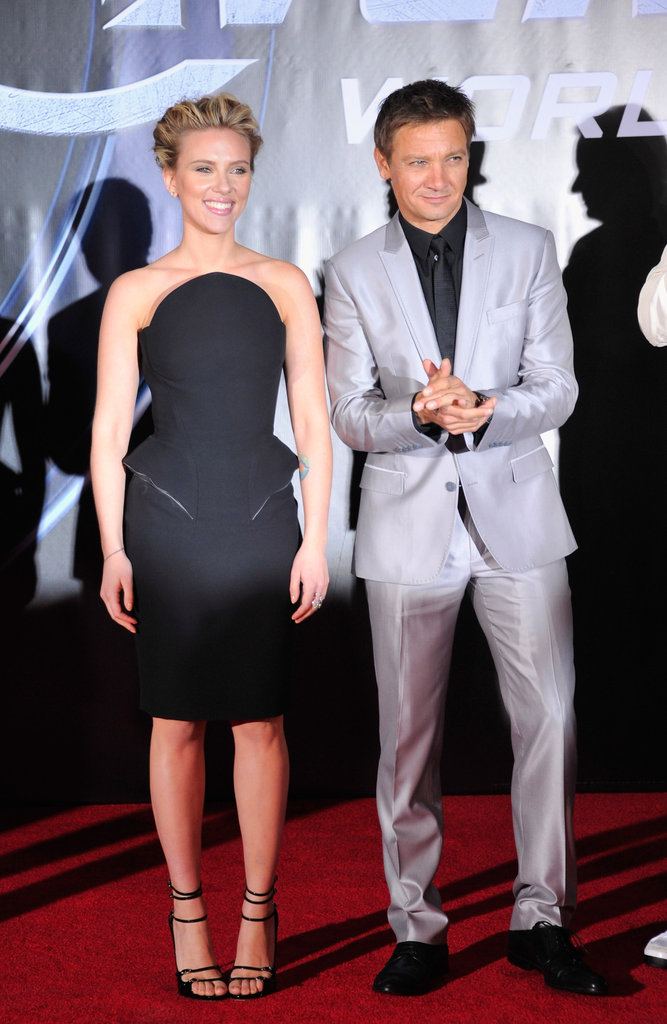 A Versace-clad Scarlett Johansson joined Jeremy Renner, Robert Downey Jr., Chris Hemsworth, Samuel L. Jackson, and several other big superhero names at the premiere of The Avengers in LA.