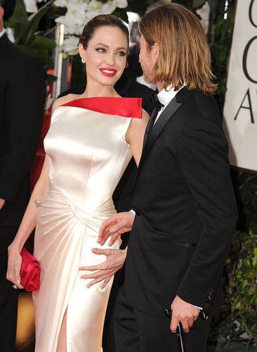 Angelina Jolie and Brad Pitt held hands at the January 2012 Golden Globe Awards.