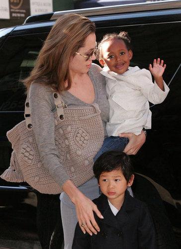 Angelina Jolie had Maddox and Zaraha close during a September 2007 visit to NYC.