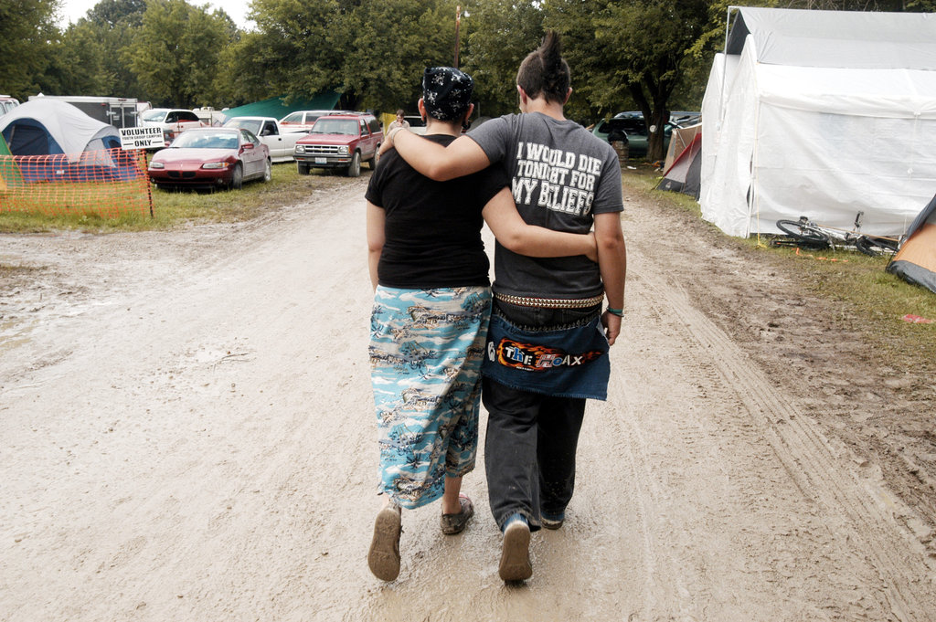 A couple walked together at Christian music festival Cornerstone Festival in Bushnell, IL.