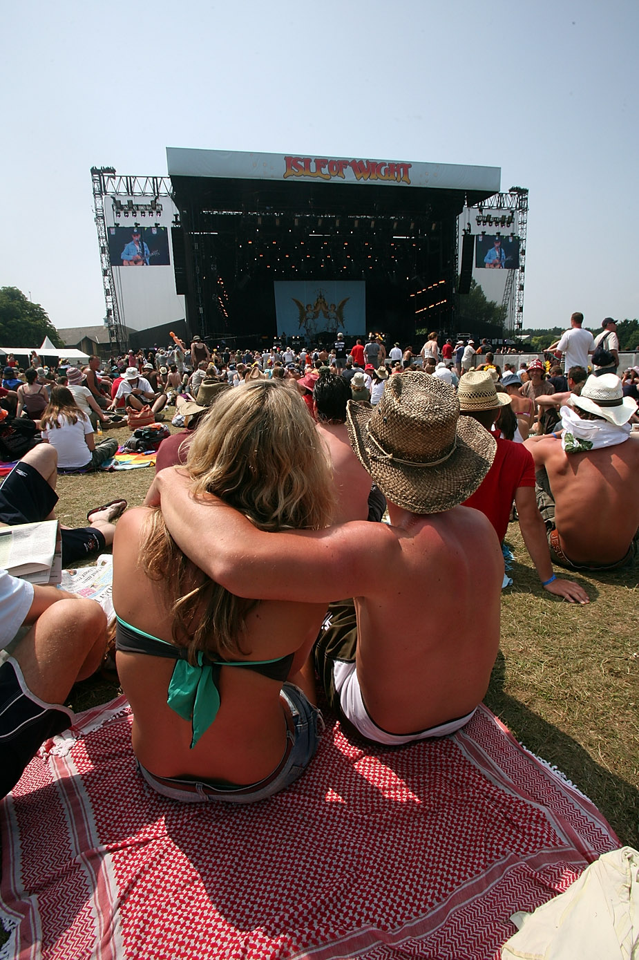 Two people watched a concert at the Wight Festival in the Isle of Wight, England.