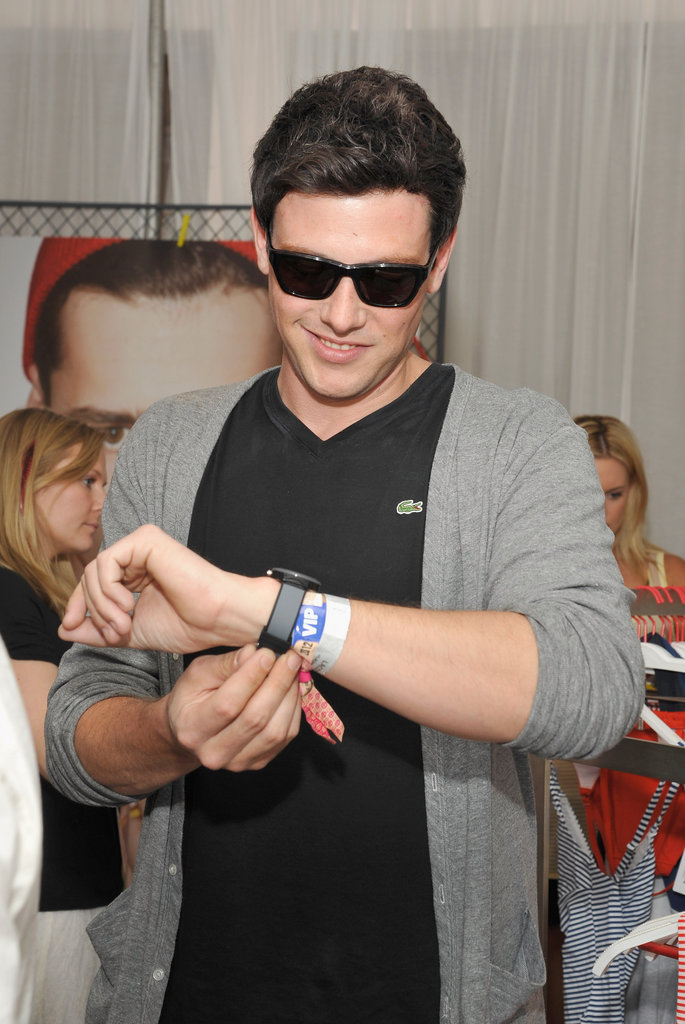 Cory Monteith checked out a watch at Lacoste's afternoon bash Saturday.
