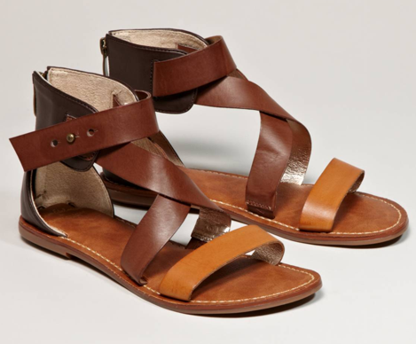 These sleek tricolored brown gladiator sandals can easily be worn with cropped jeans and a plain white tee for an effortless weekend look. Sam Edelman for AEO Gladiators ($50)