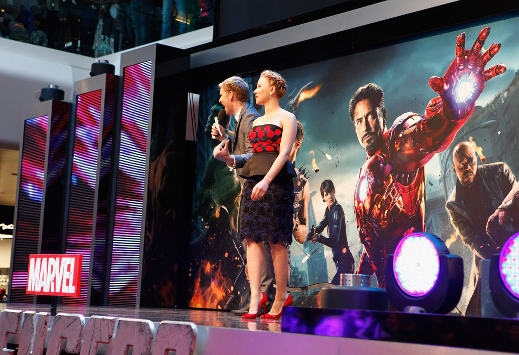 Scarlett Johansson stood on stage in London for the premiere of The Avengers.