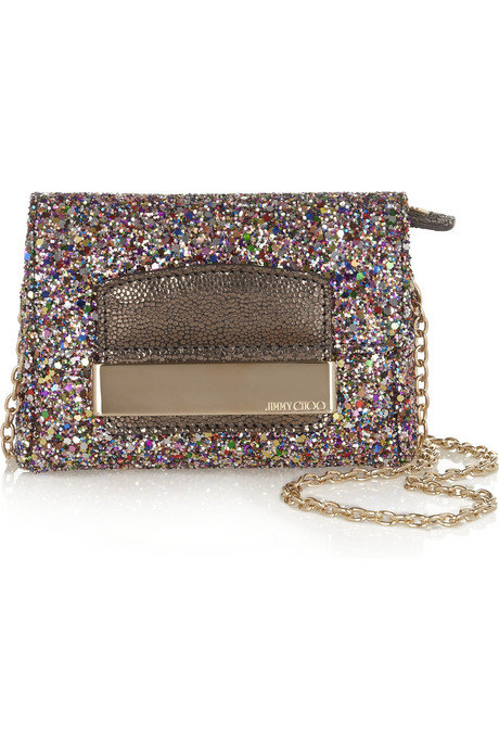 Just about the sparkliest little crossbody we've seen, this purse is perfect for a night out on the town — how great will this look with an LBD on the dance floor? Jimmy Choo Caro Glitter-Covered Leather Mini Bag ($525)