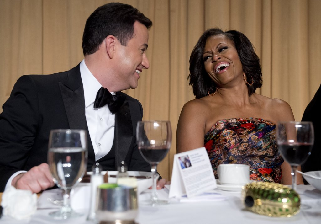 First lady Michelle Obama laughed with Jimmy Kimmel.