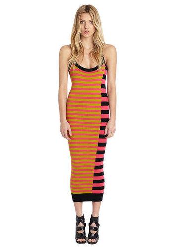 Women's Designer Clothes | Nicole Miller Official Site - DIAGONAL STRIPE MIDI SWEATER DRESS