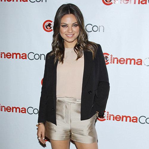Mila Kunis in Satin Shorts