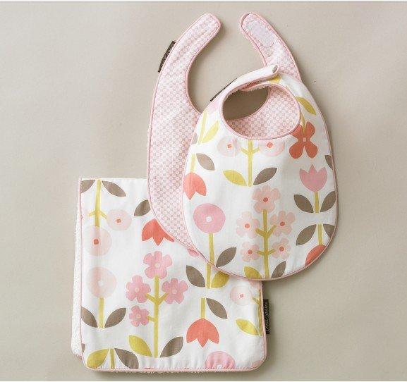 For a Baby Girl: Dwell Studio Rosette Blossom Bibs/Burp Set