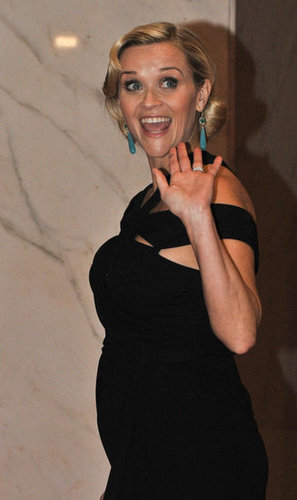 Reese Witherspoon waved to the camera at the event.