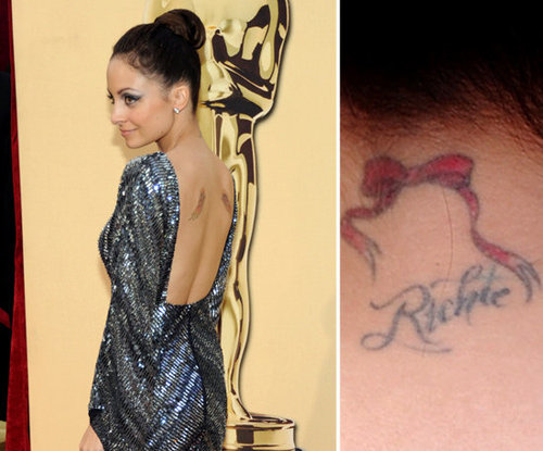 Nicole Richie has a red bow tattooed on the back of her neck, along with her last name in a cursive script.