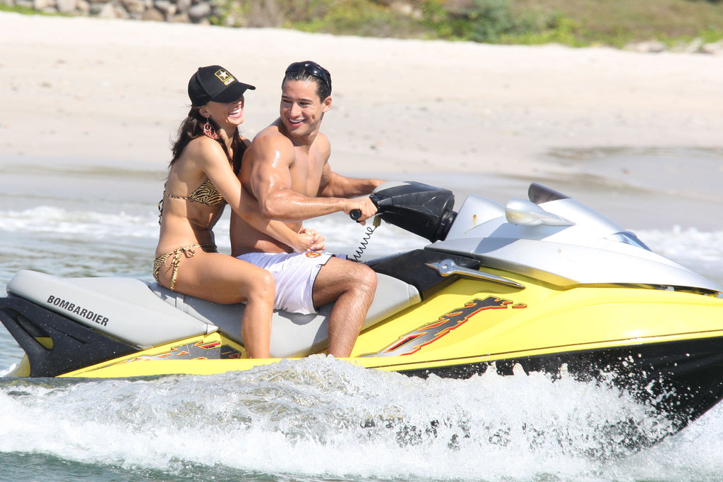 During a December 2007 trip, Mario Lopez and Karina Smirnoff rode around on a jet ski.