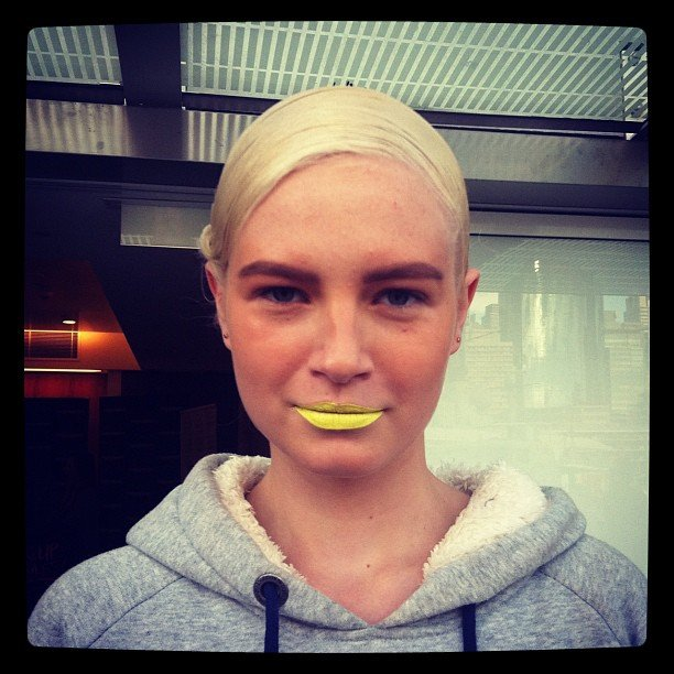 Yellow was everywhere, even on lips at Magdalena Velevska.