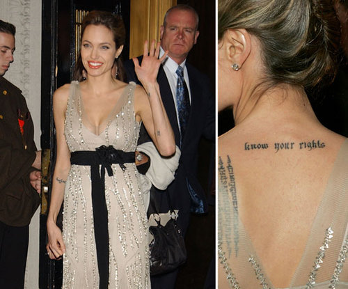 "Angelina Jolie sports a ""know your rights"" tattoo on the back of her neck as a declaration of her support for human rights."