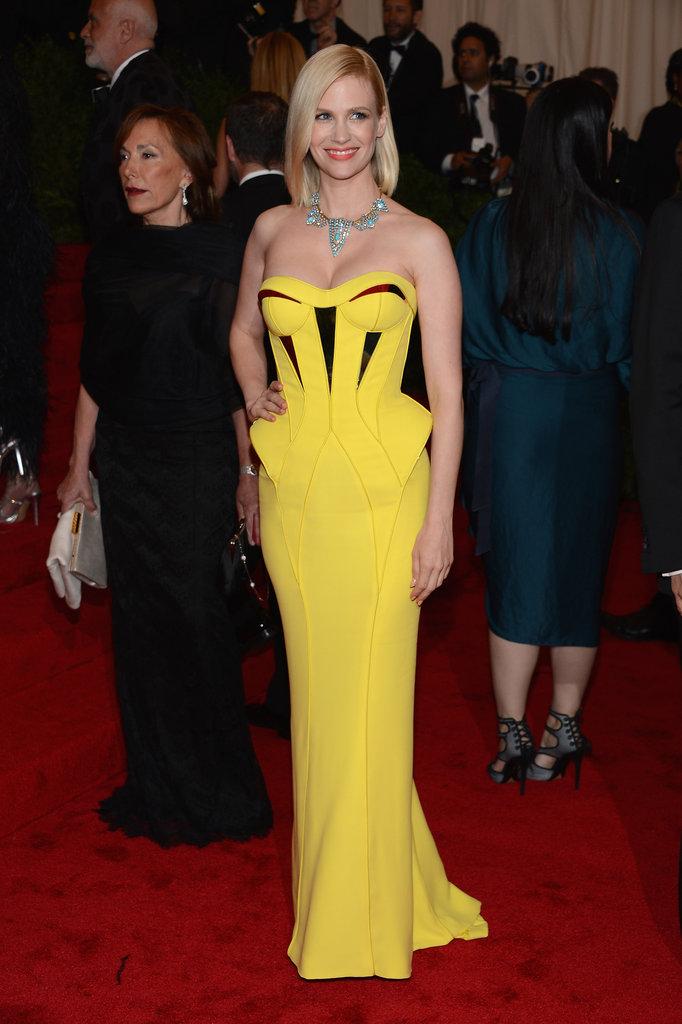 January Jones Rocks Bright Yellow Versace to the Met Gala