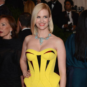 January Jones in Yellow Versace Pictures at 2012 Met Gala