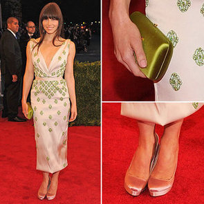 Pictures of Jessica Biel in Pink Prada Dress on the Red Carpet at the 2012 Met Costume Institue Gala