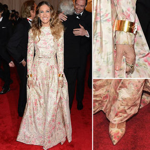 Pictures of Sarah Jessica Parker in Floral Print Valentino Gown on the Red Carpet at the 2012 Met Costume Institue Gala