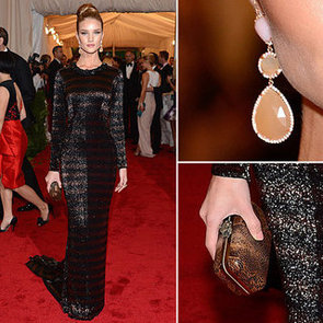 Pictures of Rosie Huntington-Whiteley in Striped Burberry Dress on the Red Carpet at the 2012 Met Costume Institue Gala