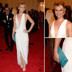 Pictures of Claire Danes in White J.Mendel Dress on the Red Carpet at the 2012 Met Costume Institue Gala
