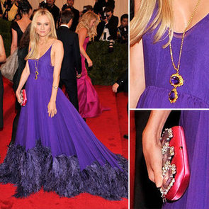 Pictures of Diane Kruger in Feather Hemmed Purple Prada Dress on the Red Carpet at the 2012 Met Costume Institue Gala