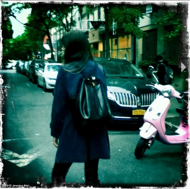 Jessica Biel showed off her new backpack, courtesy of The Row.  Source: Jessica Biel on WhoSay