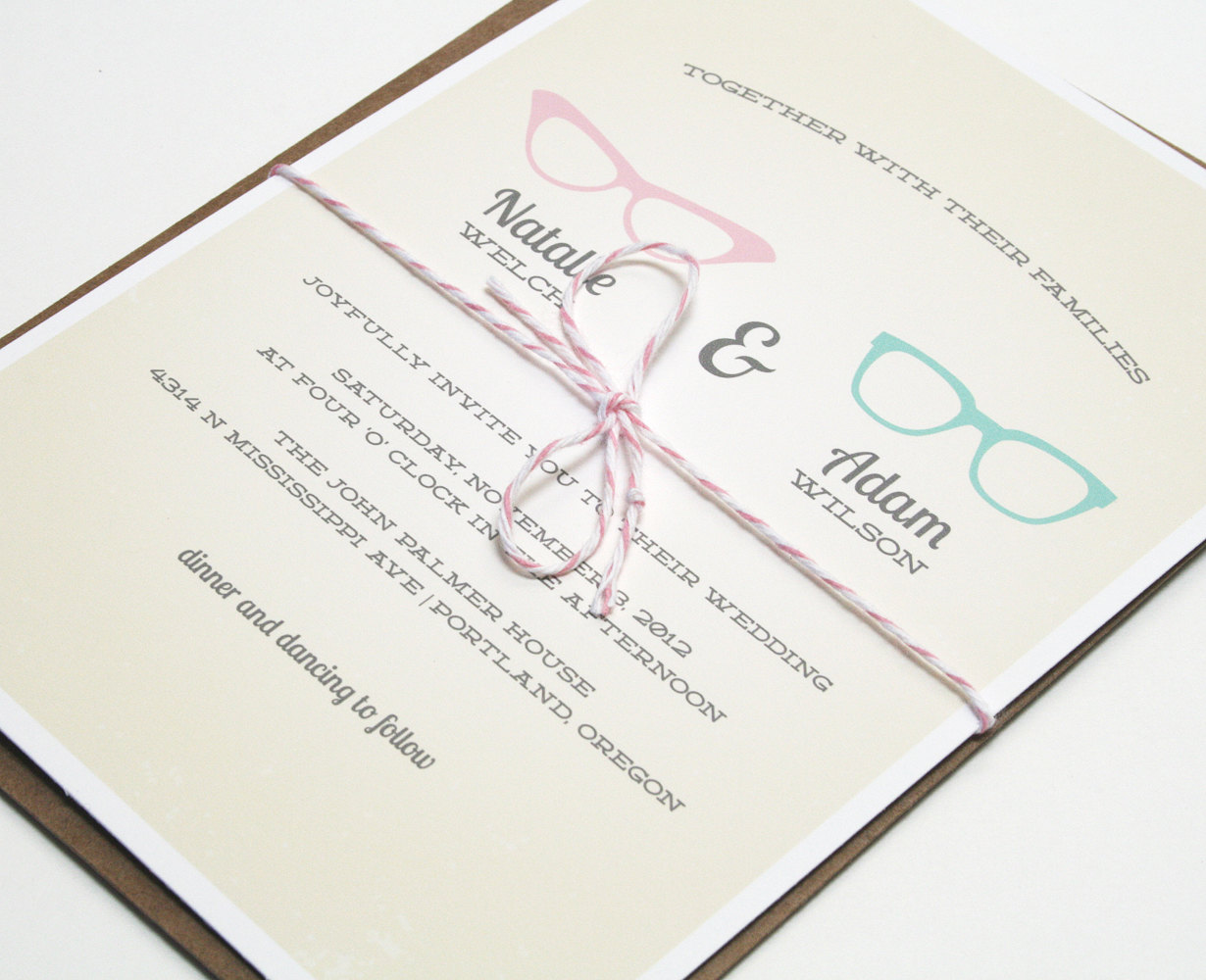 """If you fell in love with a fellow """"four-eyes,"""" these vintage geek-chic invitations ($3 each) are a fitting option."""