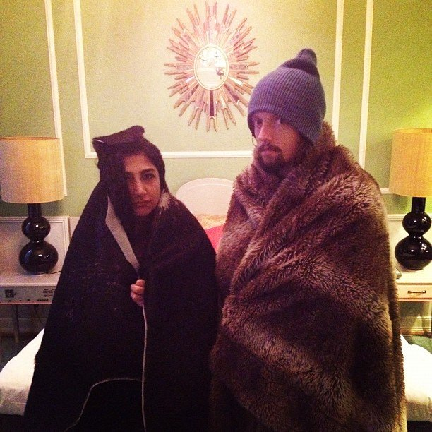 Jason Mraz snuggled up in a hat and furry blanket.  Source: Instagram user jason_mraz