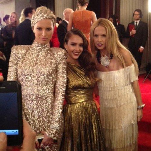 Karolina Kurkova, Jessica Alba, and Rachel Zoe made a stylish trio at the Met Gala.