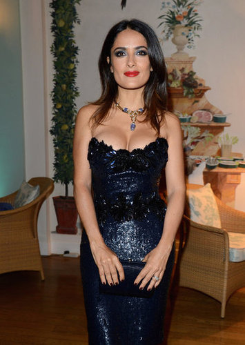 Salma Hayek opted for megawatt sparkles and megawatt jewels at the Gucci and Vanity Fair fete.